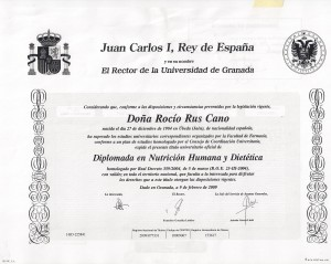 Rocio Rus Diplomada en Nutricion